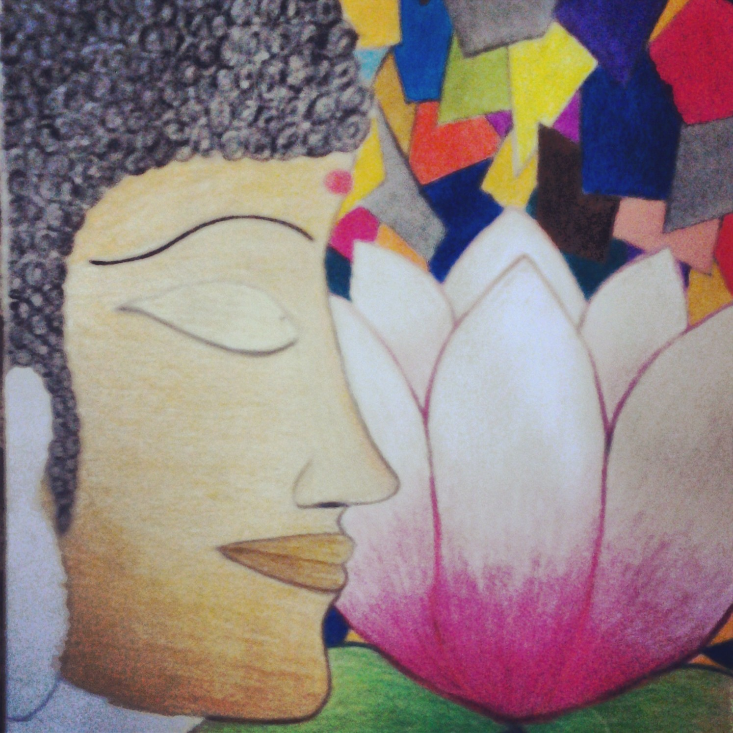 My Unfinished Drawing The Buddha With A Lotus Flower Newbuddhist